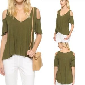 Free People Bittersweet Cold Shoulder Top Green S